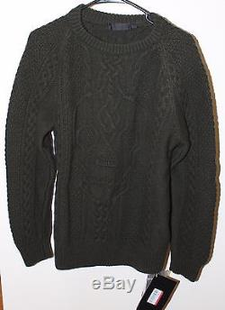 Alexander Mcqueen Cable Knit Skull Sweater Size Small S Olive Green Brand New