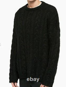 All Saints Chunky cable knit crew oversized wool sweater jumper Black size L