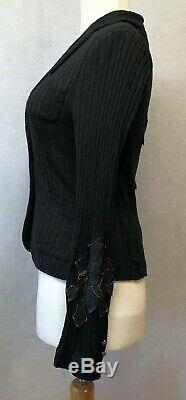 Amal Guessous A & G Silk Cashmere Black Cable Knit Cardigan Sweater Size Medium