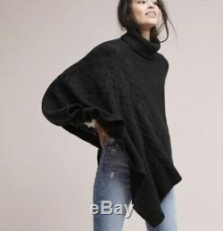 Anthropologie Poncho Sweater Turtleneck Cable Knit Pullover One Size NEW