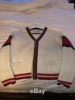 Auth Gucci GG Oversize cable knit cardigan sz large