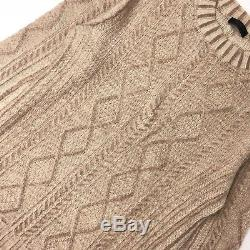 Authentic Prada Mens Cream Tan Cable Knit Wool Jumper Sweater Pullover Size L 50