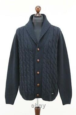 BARBOUR Mens Wool Kirkstone Cable Knit Shawl Cardigan Leather Trim L Navy Blue