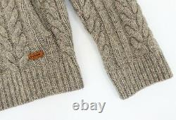 BARBOUR Mens Wool ROPE ZIP THRU Cable Knit Jumper Cardigan Twine Beige size M