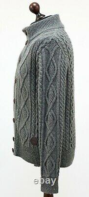 BARBOUR Wool Kirktown Cable Knit Front Buttons Cardigan Leather Trim size S Grey