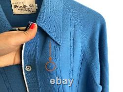 BRIAN MAT NEIL 1950s Cardigan Sweater Blue Cable Knit w Collar 100% Wool Size M