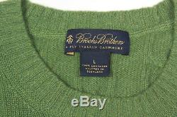 BROOKS BROTHERS 4-PLY 100% Italian Cashmere Green Cable Knit Men's Sweater Large