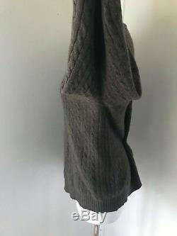 BRORA Made In Scotland Brown Cable Knit Crew Neck Long Sleeve Jumper Size 14