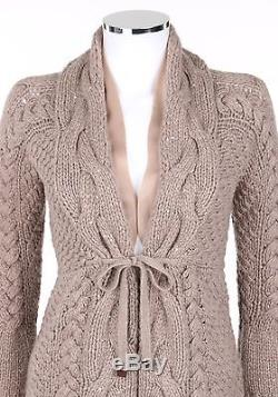 BRUNELLO CUCINELLI 100% Cashmere Taupe Chunky Cable Knit Cardigan Sweater L