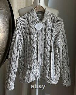 BRUNELLO CUCINELLI Cable-Knit Zip-Front withMonili Sweater Cardigan M/IT42 NWT