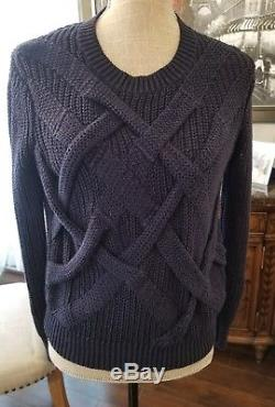 BURBERRY BRIT Women Navy cable knit sweater Size Medium