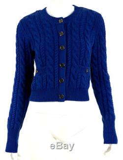 BURBERRY LONDON Cobalt Blue Wool Cashmere Cable Knit Cardigan Sweater S