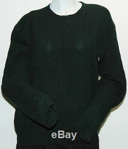 Black Label Ralph Lauren Crewneck Sweater L 100% Cashmere Cable Knitted Green