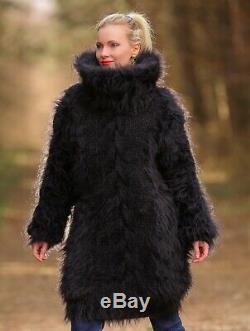Black fuzzy mohair sweater dress turtleneck hand knitted thick tunic SuperTanya