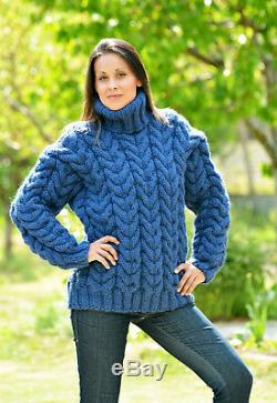 Blue Designer Hand Knitted Wool non Mohair Sweater Cable Pullover EXTRAVAGANTZA