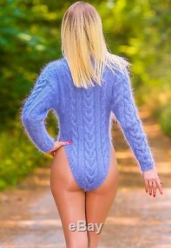Blue mohair bodysuit cable knitted sweater hand knitted sexy top SUPERTANYA XS S