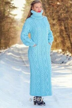 Blue wool dress cable turtleneck sweater hand knit long winter gown SUPERTANYA