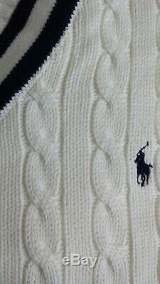 Bnwt, Polo Ralph Lauren Us Open V-neck Cable Knit Cricket Sweater Size XXL