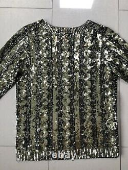 Boden Gold Navy Sequin Cable Knit Jumper Size 10 Party Christmas