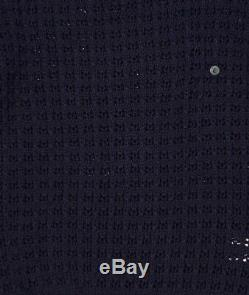 Boss-Hugo Boss Black Label Navy Gomo Cable Knit Cotton Slim Fit Sweater $335