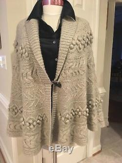 Brooks Brothers Beige Grey 100% Baby Camel Cape Knit Cable Sweater One size