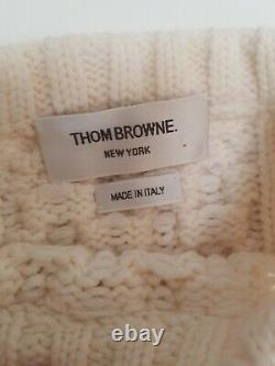Brooks Brothers Thom Browne S Colorblock Four Bar Chunky Cable Knit Sweater Wool