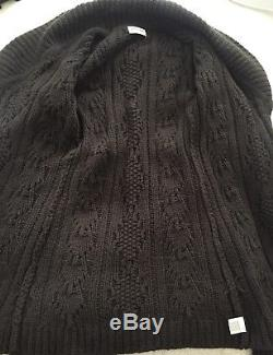 Brora 100% Cashmere Belted Long Cardigan Heavy Cable Knit Uk 8-10