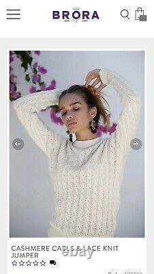 Brora 3 Ply 100% Cashmere Cable Knit With Lace Knit Jumper Size 10 In Gift Box