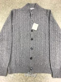 Brunello Cucinelli Cashmere Cableknit Full Button Up Cardigan Sweater, 50, BNWT