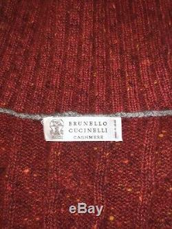 Brunello Cucinelli Men's Red Cable knit Virgin Wool blend Rollneck NWT $2495