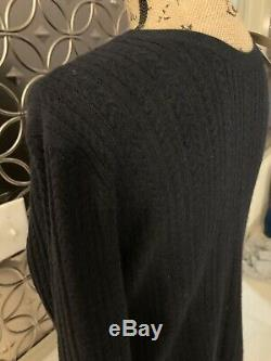 Burberry Cashmere Newman Aran Cable Knit Navy Sweater Size Medium New $695