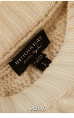 Burberry Contrasting-knit cable knit cashmere Jumper Sweater Size S Small