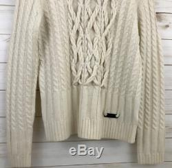 c557e551335041 Burberry London Womens XL Cable Knit Wool Cashmere Sweater Shirt Ivory Cream