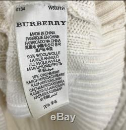 Burberry London Womens XL Cable Knit Wool Cashmere Sweater Shirt Ivory Cream