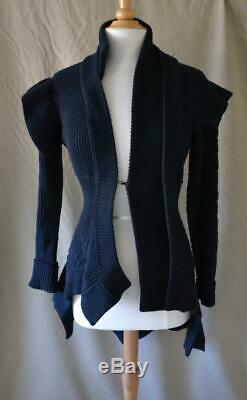 Burberry Navy Asymmetric L/S Cardigan Cable Knit Sweater Wool/Cashmere Sz S