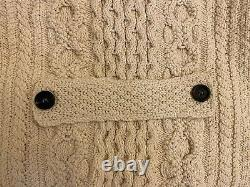 Burberry Prorsum Mens Double Breasted Cable Knit Sweater Natural White NWT