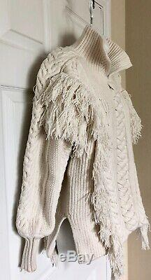 Burberry Women's Size XS Medium Fringed Cable Knit Cotton Blend Sweater $1295