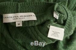 CAROLINA HERRERA Womens Green Cashmere Silk Cable Knit 3/4 Sleeve Top Sweater M