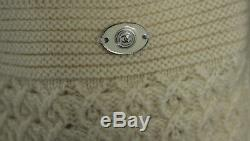 CHANEL Ivory Cashmere Cable Knit Cap Sleeve Belted Cardigan Sweater 40