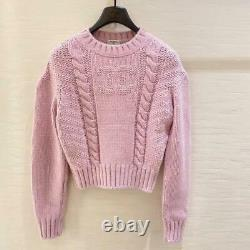 CHIC! Chanel Logo Cable Knit Cashmere & Silk Sweater in Fr 36