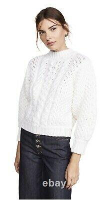 Caroline Constas Chunky Cable-Knit Sweater Cropped Off-White XS