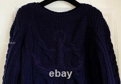 Chanel 18a Hamburg Navy Blue Cashmere Cable Knit Sweater Dress 34