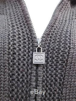 Chanel Gorgeous Thick Cable Knit Black Hooded Zippered Cardigan Sz 44