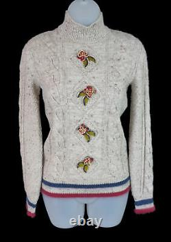 Chanel Tan Wool Cashmere Tweed Cable Knit Floral Applique Sweater Size 34 FR