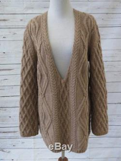 Chloe Sweater Beige Rose Cable Knit Size Small Deep V-Neck Oversized Pullover