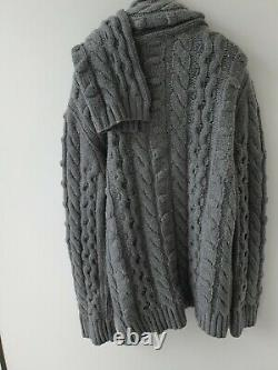 Christian Dior Runway Cable Knit cardigan with scarf Med 100% authentic