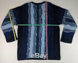 Coogi Australia Shades of Blue Cable Knit Crew Neck Sweater Men's XL