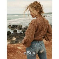 DOEN Pom Pom Lulu Sweater in Macaroon S Size Small Brown Cable Knit Cotton Crew
