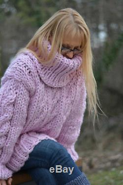 DUKYANA Hand Knit chunky wool sweater handmade violet cable Tneck pullover