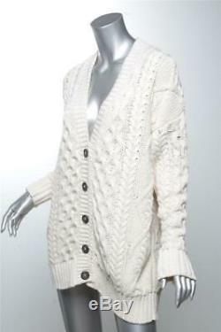 ELLIE MAE Felicity Cable Chunky Knit Cream Cardigan Oversized Sweater NEW TAGS M